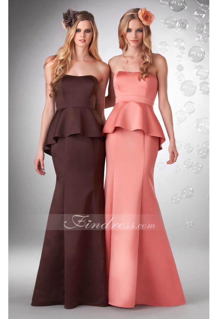 Sheath Strapless Floor-length Satin Bridesmaid Dress With Peplum - This fit and flare bridesmaids gown is made of Jolie satin. The fitted bodice features a strapless neckline and a mid cut back. The p