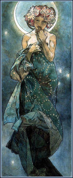 Stroming : Jugendstil Naam Kunstenaar : Alfons Mucha  Schilderij :The Moon and the Stars (1902) Kenmerken : Er worden meestal vrouwen gebruikt in zijn schilderij , erg sierlijke lijnen en vormen , bij de achtergrond is er gemend met donkerblauw en wit en misschien een klein beetje zwart.