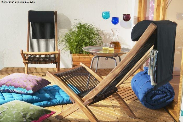 Atunci când nu te bucuri de soare, poți strânge șezlongul BROMMÖ ca să ai mai mult spațiu. www.IKEA.ro/sezlong_BROMMO