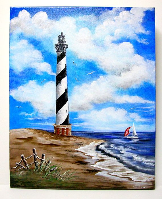 MADE TO ORDER  Cape Hatteras Lighthouse on 16 x 20 Canvas Acrylic Original Painting. $125.00, via Etsy.
