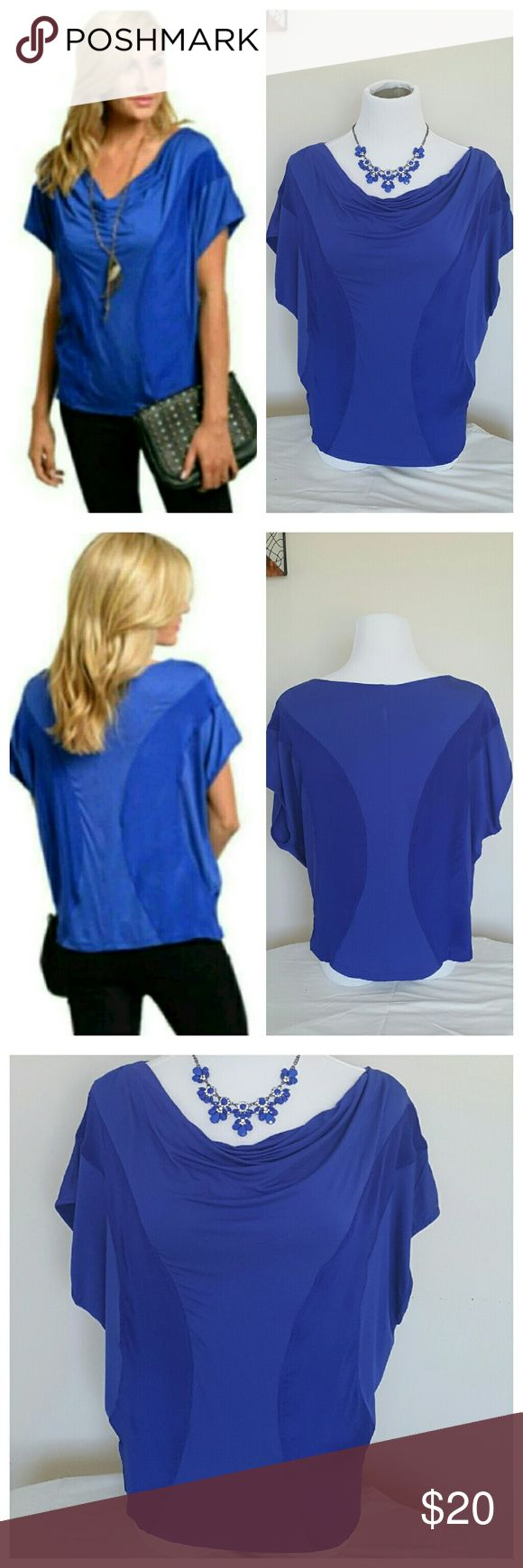 "Royal Blue Short Sleeve Silk Top - Small New with tags, size small. Vibrant Royal Blue top, with 2 shades of blue. Partial cowl neck with short sleeve batwing style sleeves. 24"" Length. Shell: 95% Rayon/5% Spandex. Contrast: 100% Silk. Tops Blouses"