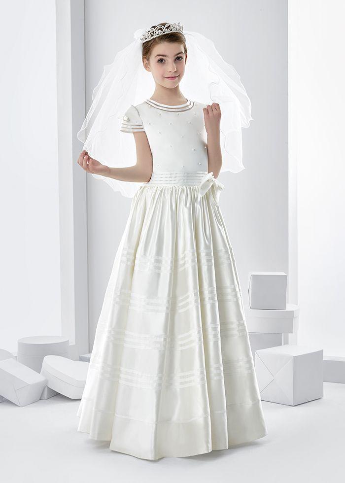 Ball Gown Short Sleeve Bow(s) Floor-length Satin Communion Dress