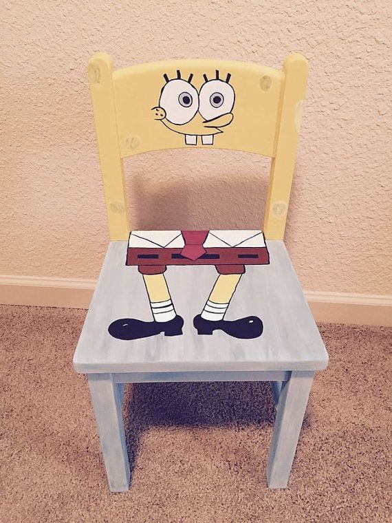 Custom Handpainted any character childs chair. Sponge Bob Square Pants is shown, but other characters are available. Email me for a list. Made