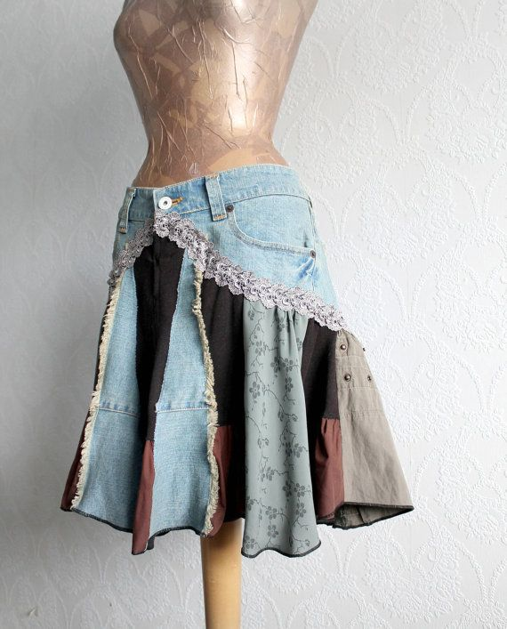 Bohemian Skirt Patchwork Style Boho Chic Women's Clothing Eco Friendly Tattered Clothes Country Western Denim Skirt Knee Length L 'AVERY'