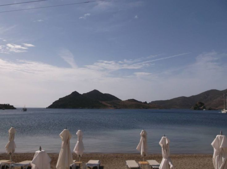The view of Grikos beach from Patmos Aktis Suites & Spa. One of the best beaches in Patmos Island.