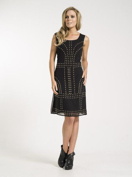 Amalia dress in black with gold detail from KAJA Clothing