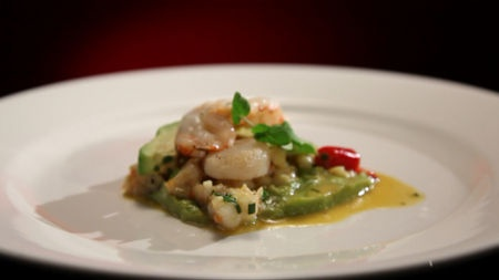 Prawn, scallop and avocado salad with chilli mayo