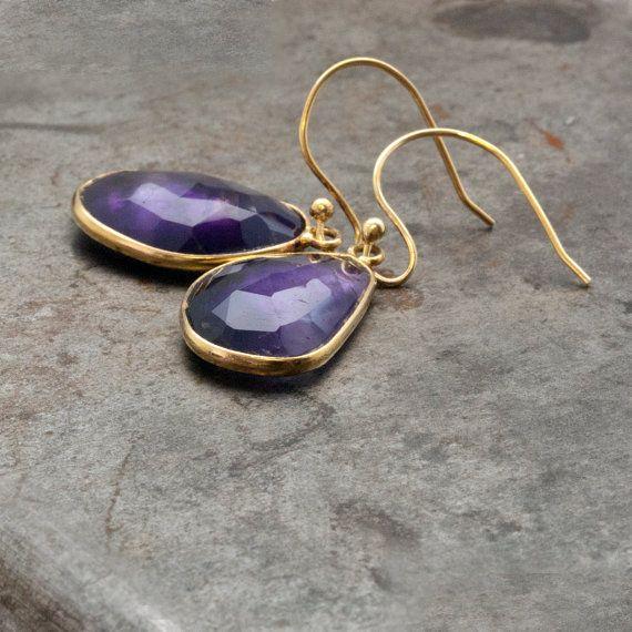 Amethyst Earrings Gold Dangle Earrings Purple by PiscesAndFishes