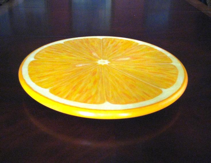 Hand Painted Lazy Susan Orange Slice Design 15 Inch by JaneSuzanne, $120.00