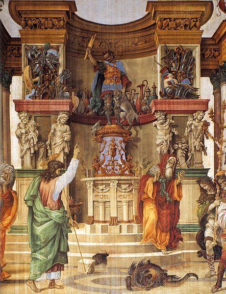 Filippino Lippi - San Filippo scaccia il dragone dal tempio di Hierapolis - affresco - 1487-1502 - Cappella di Filippo Strozzi - Basilica di Santa Maria Novella di Firenze