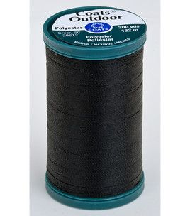 100% continuous multi-filament polyester. Ideal for canvas products like sails and tents, outdoor furniture and awnings. UV Resistant. 200 Yds   Black, Buff, Steel, Cherry Red, and White