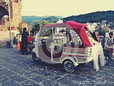 Top view of the small harbor of Agropoli Italy napoli sea boats with bee car for weddings