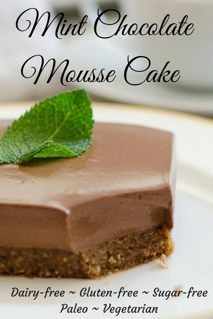 A decadent and delicious mint chocolate mousse cake that is gluten-free, dairy-free, sugar-free and Paleo friendly. All the taste but without the guilt. By Paleo Diet and Fitness.