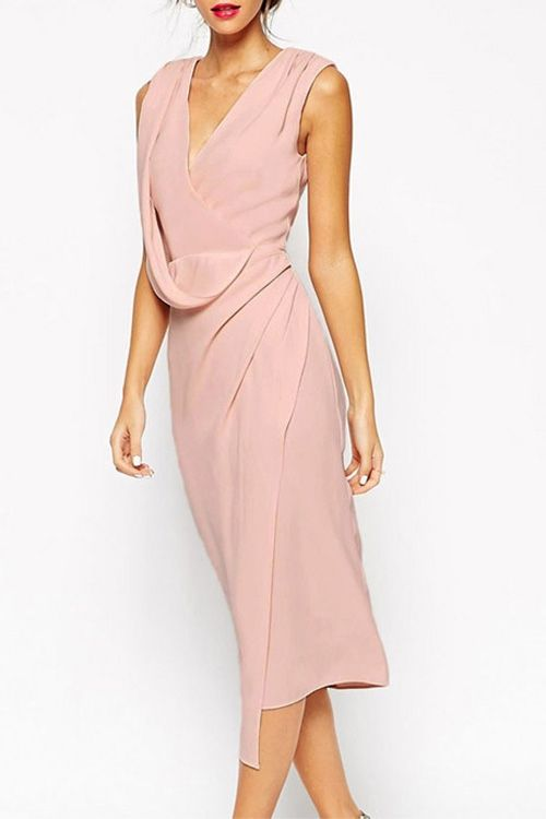 Pink Plunging Neck Sleeveless Midi Dress