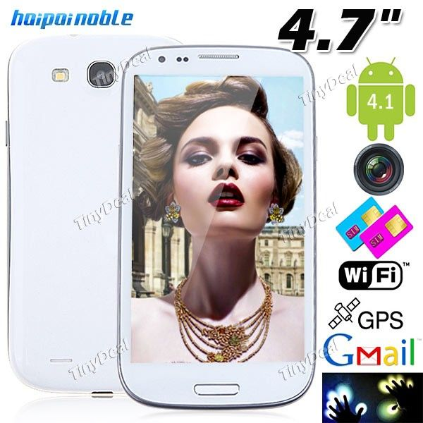 "(HAIPAI) I9377 4.7"" Capacitive Multi-touch Android 4.1 MTK6577 Dual-core 3G Smart Phone+ GPS+ WiFi+ 8MP Camera -White http://www.tinydeal.com/fr/haipai-i9377-47-android-41-mtk6577-gps-3g-smart-phone-p-72131.html"