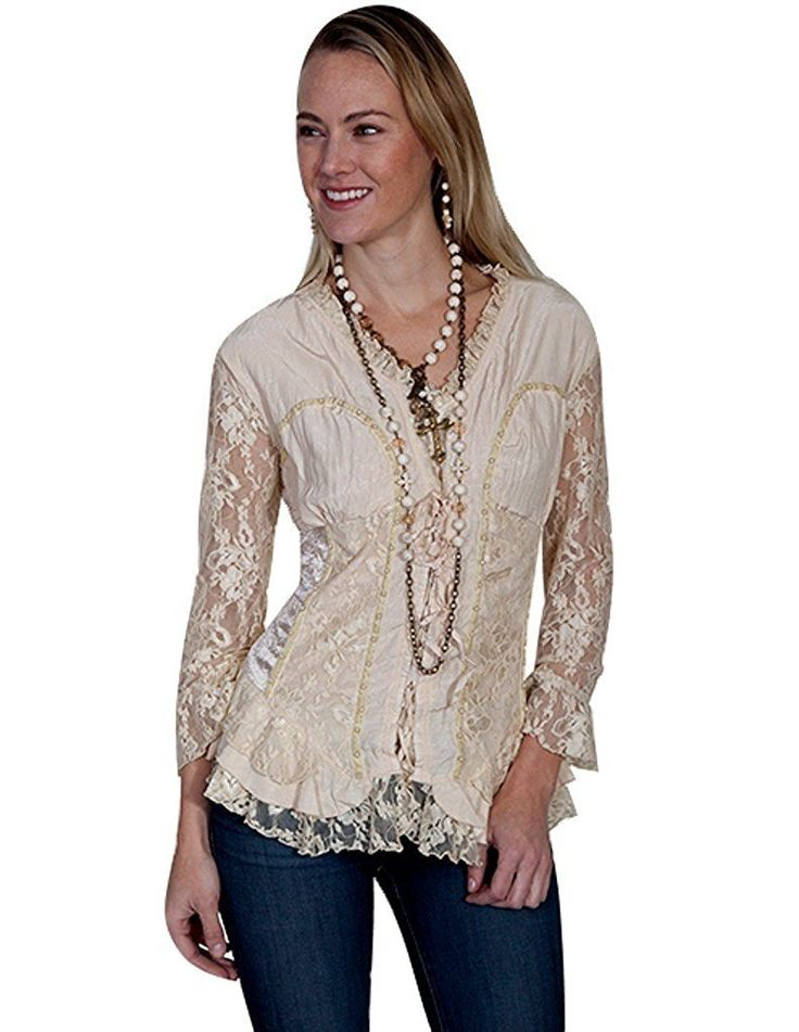 Scully Western Shirt Womens Long Sleeve Stud Lace Ruffle HC244