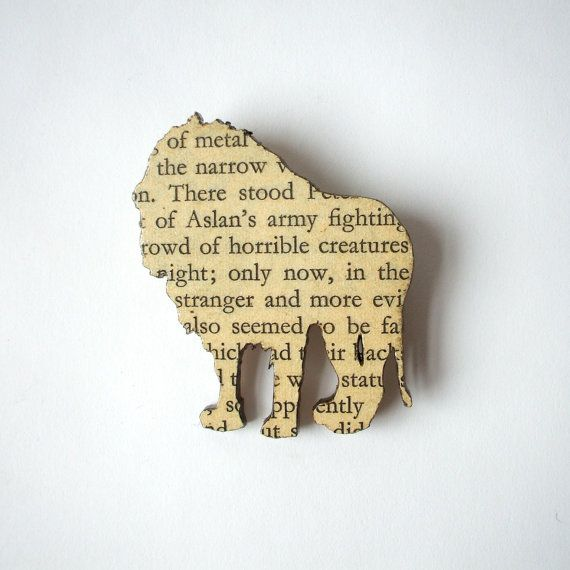 PRE ORDER - The Lion, the Witch and the Wardrobe - Lion brooch. Classic book brooches made with original pages.