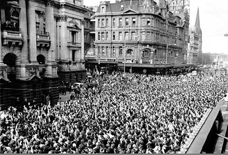 Crowds gathered to catch a glimpse of the Beatles in June 1964 outside the Melbourne Town Hall.