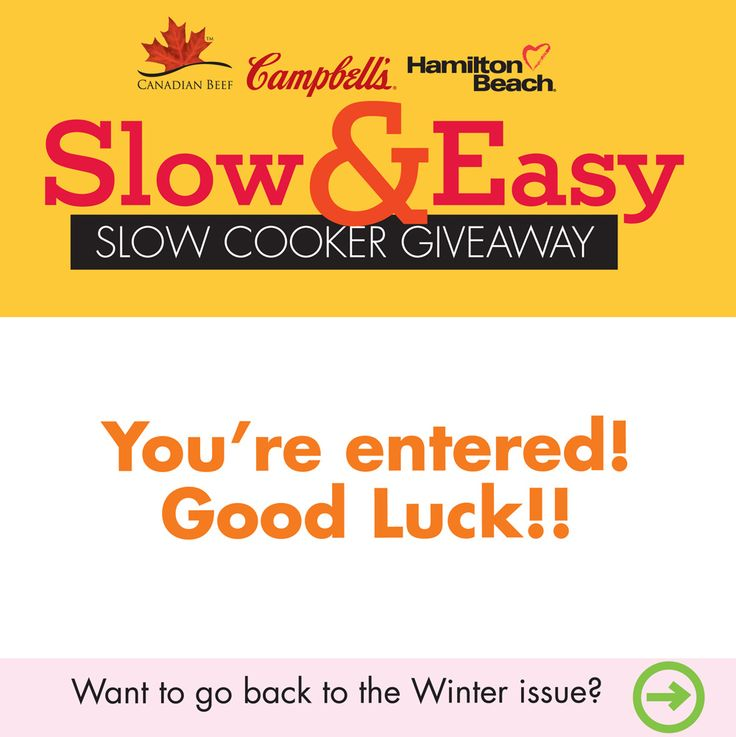 Slow & Easy Slow Cooker Contest_Thank You | Eat In Eat Out Magazine