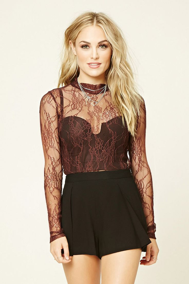 Forever 21 Contemporary - A semi-sheer floral lace top featuring a high neck, buttoned keyhole back, and long sleeves.