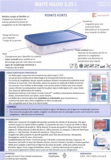 Fiche produit Tupperware: Boite Igloo 2.25L - Les Macarons à la Chartreuse