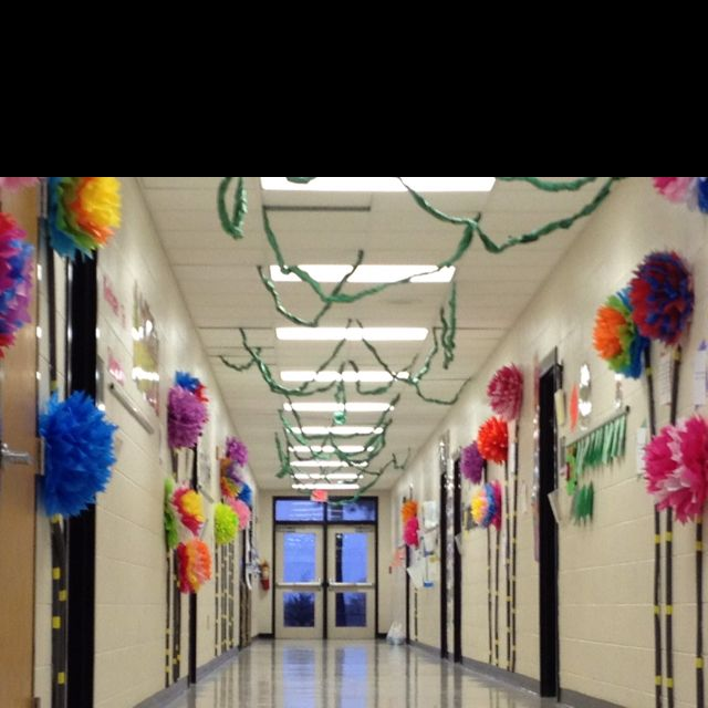 Main entry decorated with Truffula Trees for Read Across America Day with Dr. Seuss