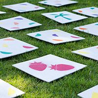 DIY Giant Lawn Matching Game + Free Printable Stencils for Backyard Parties, Picnics, BBQs and the Beach