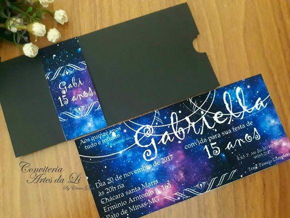 Convite 15 Anos Tema Galaxia Envelope Com Imagens Convite 15