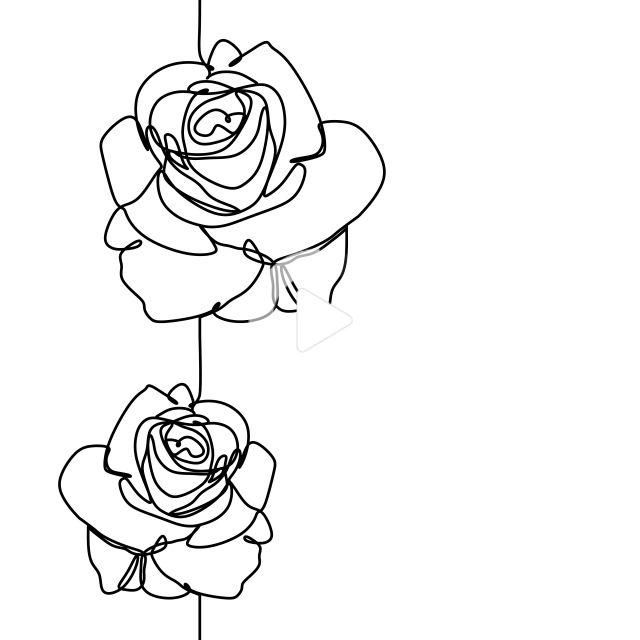 One Line Drawing Of Rose Flower Minimalist Design Isolated On White Background Vector Illustration Line Art Drawings Rose Line Art Flower Drawing