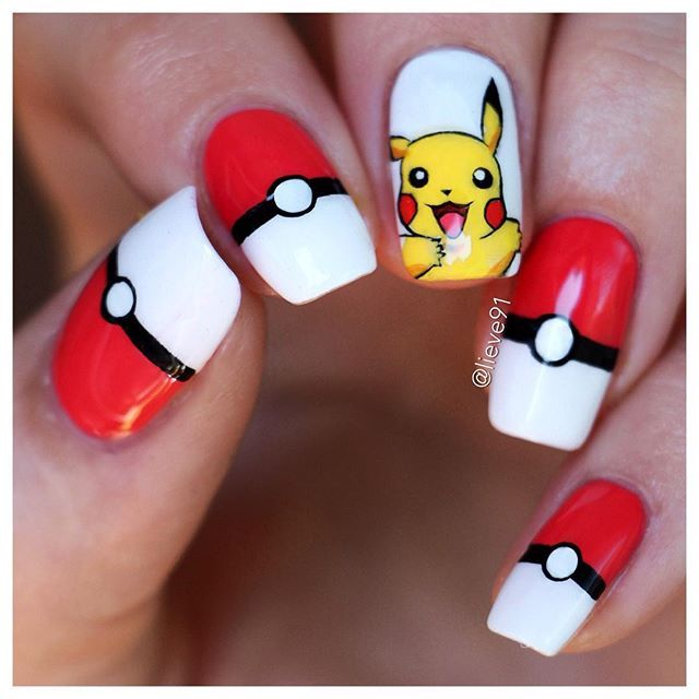 Of course I had to..I mean-it's Pikachu!!⭐️ That's why I decided to do my mani inspired by the @nailscope  This mani would take me only 5min if it wasn't for Pikachu He took me around 20min to finish but I'm glad I took the time to draw him So what do you guys think about this whole Pokemon mania? I downloaded the game yesterday but haven't played it yet! White polish- Wild White Ways by @essence_cosmetics Red-Cherry Garden by OriflameThe rest us hand drawn with Liquitex acrylic paint...
