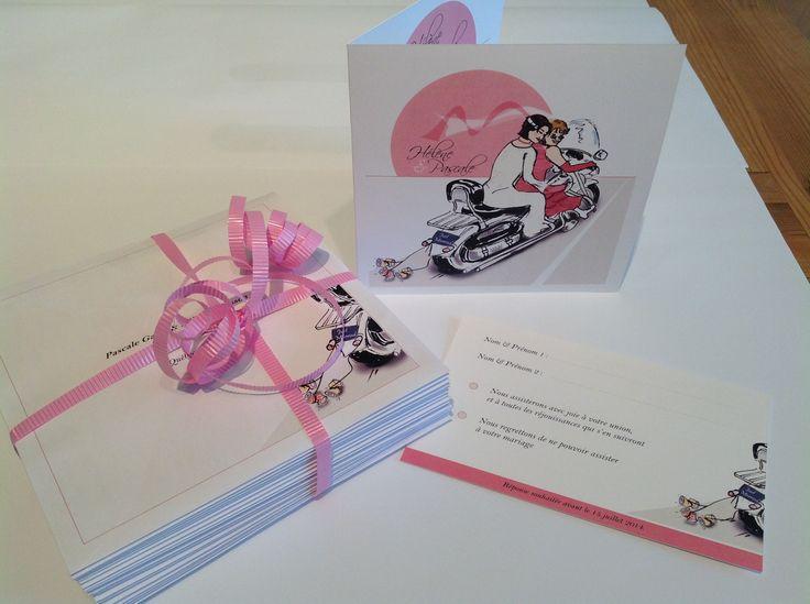 """Faire-part mariage. Thème """"Moto Harley"""". Design sur-mesure pour mariage gay. Faire-part, carton-réponse, remerciements..."""
