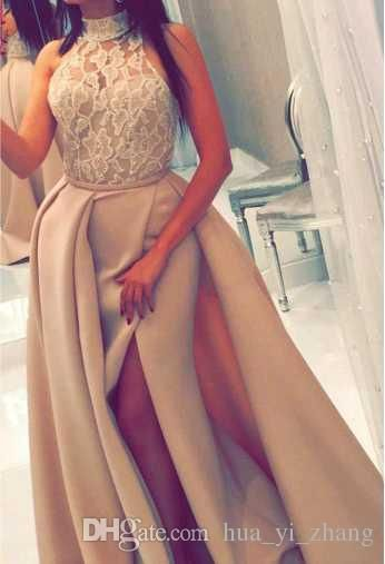 2017 Prom Dresses High Neck Beaded Lace Light Champagne Gowns with Overskirt And Split Sexy Pageant Dresses 2017 Prom Dresses High Neck Overskirt Online with $149.72/Piece on Hua_yi_zhang's Store   DHgate.com