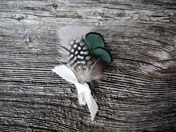 Vintage Feather Boutonniere, Turkey Feather, Guinea Feather, Groom Boutonniere, Green Boutonniere, Blush Boutonniere, Ivory Ribbon