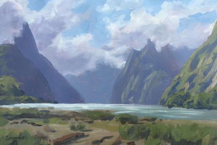 "Milford Sound, Fiordland, New Zealand, 8"" X 10"", oil on linen. SOLD"