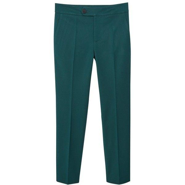 Mango Straight Trousers , Dark Green (1.050 RUB) ❤ liked on Polyvore featuring pants, capris, mango, dark green, cotton crop pants, mango trousers, cropped trousers, blue trousers and cotton trousers