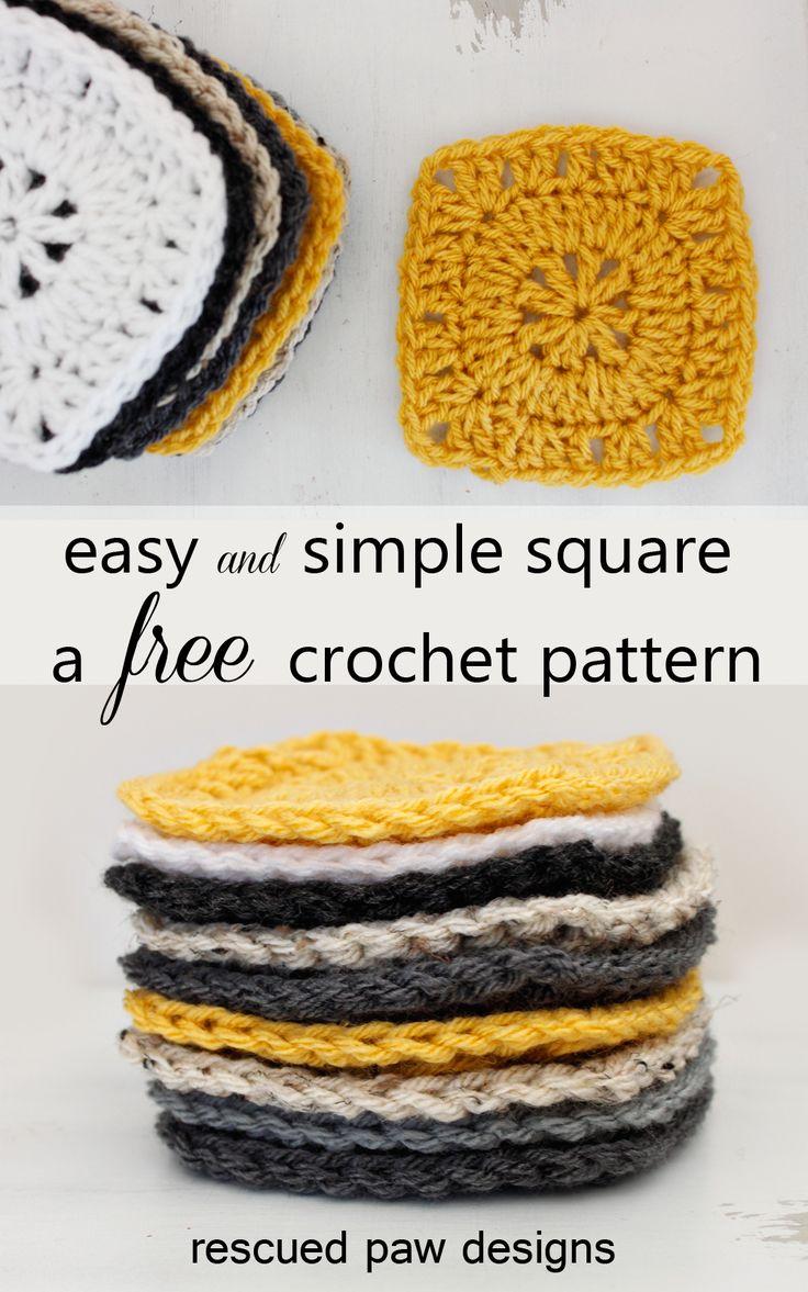 Free Crochet Pattern - Simple Square by Rescued Paw Designs ༺✿ƬⱤღ http://www.pinterest.com/teretegui/✿༻