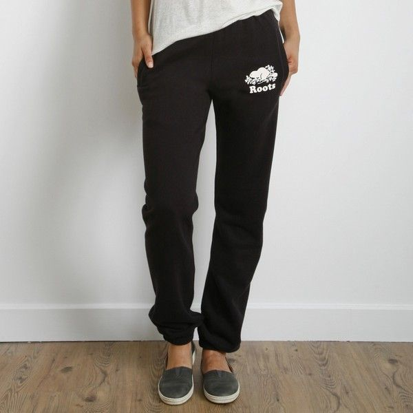 Roots Pocket Original Sweatpant (920 MXN) ❤ liked on Polyvore featuring activewear, activewear pants, black, black sweat pants, roots sweatpants, long sweat pants, pattern sweatpants and slouchy sweatpants