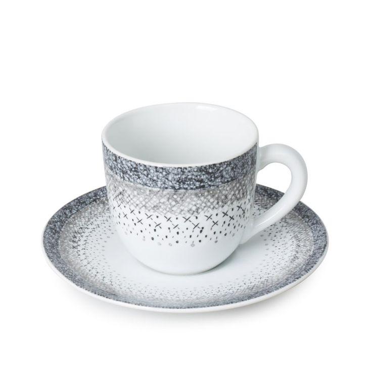 """Tasse à café avec soucoupe, collection """"Stella"""".  En grès.  Superbe qualité pour une table raffinée !"""