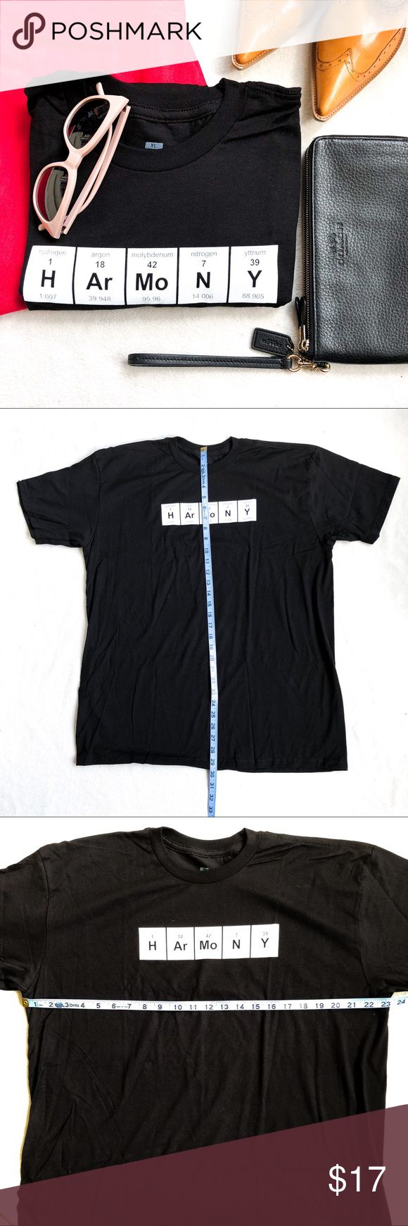 NWT Periodic Table Harmony T-Shirt NWT Periodic Table Symbol Spelling 'Harmony' T-Shirt Black w/ White Print Unisex Fit Size XL Package Opened Only For Photos ThinkGeek Tops Tees - Short Sleeve