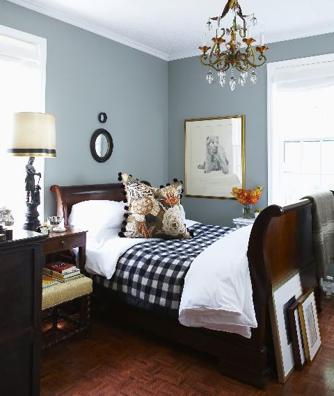 I love the pillow!! Tommy Smythe's bedroom, wall color Pigeon by Farrow & Ball, Michael Graydon foto - House & Home Dec 2009 ~