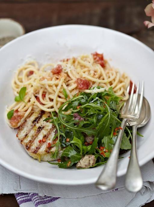 Grilled tuna with tomato spaghetti | Jamie Oliver | Food | Jamie Oliver (UK)