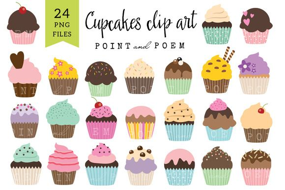 Cupcakes Clip Art by Point and Poem on Creative Market
