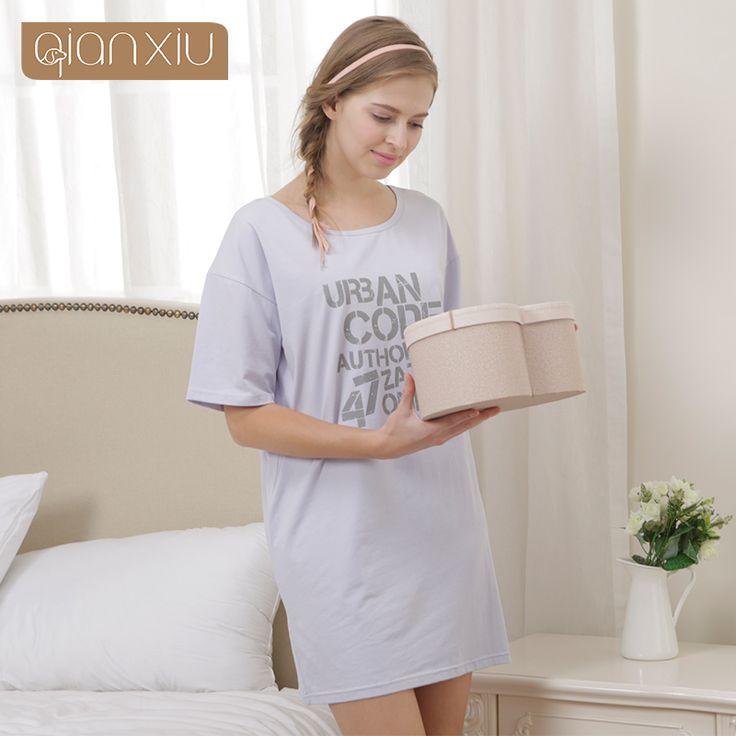 Qianxiu Modal Cotton Girl Sleepwear Summer Nightwear Short-wleeve Knee-length Sleepskirts  Casual Nightgown Loose Skirt