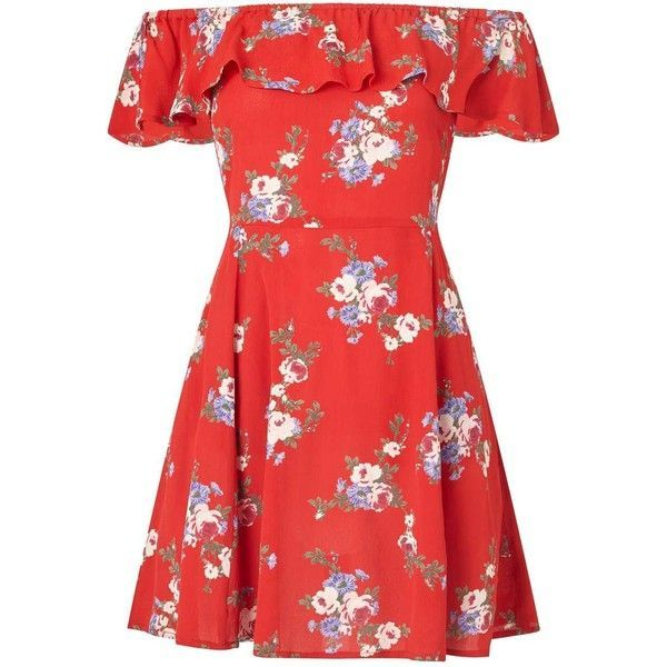 Miss Selfridge PETITE Floral Print Bardot Skater Dress (210 RON) ❤ liked on Polyvore featuring dresses, petite, red, petite red dress, petite dresses, skater dresses, flower printed dress and flower pattern dress