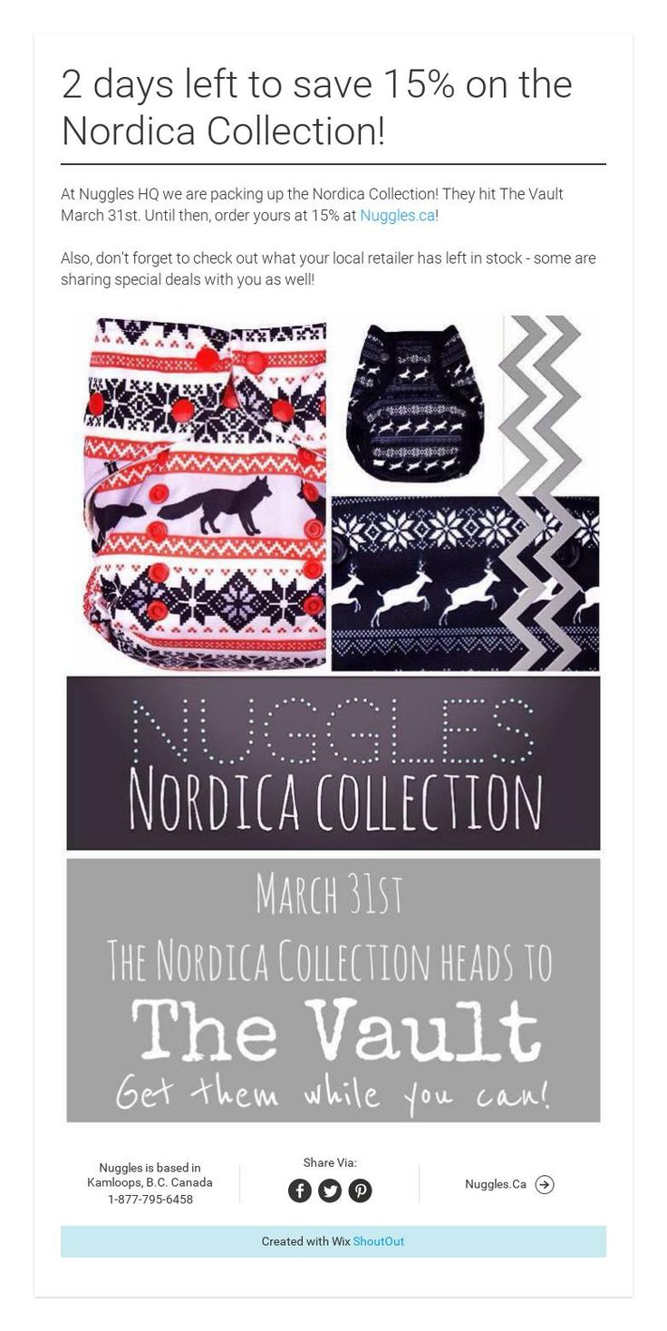 2 days left to save 15% onthe Nordica Collection!