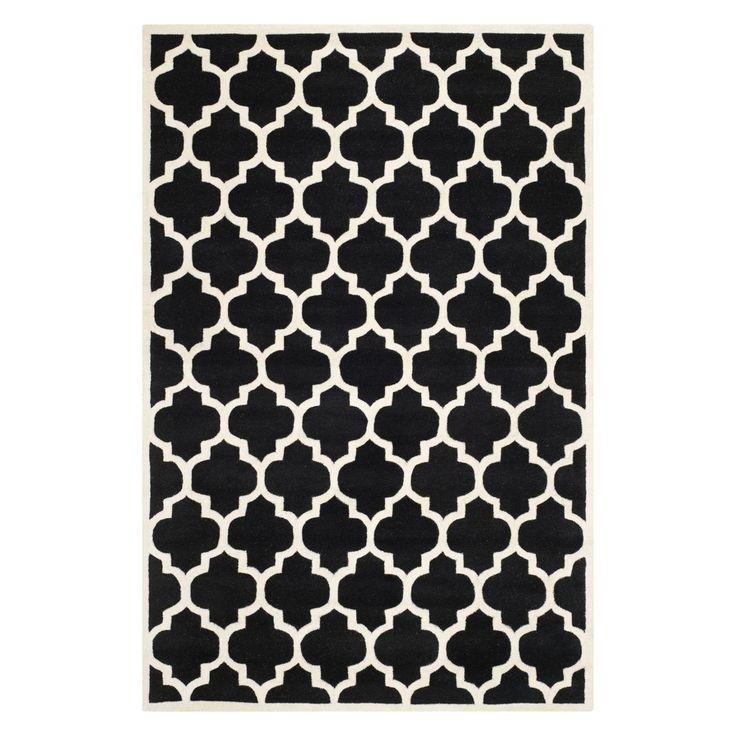 6'X9' Quatrefoil Design Tufted Area Rug Black/Ivory