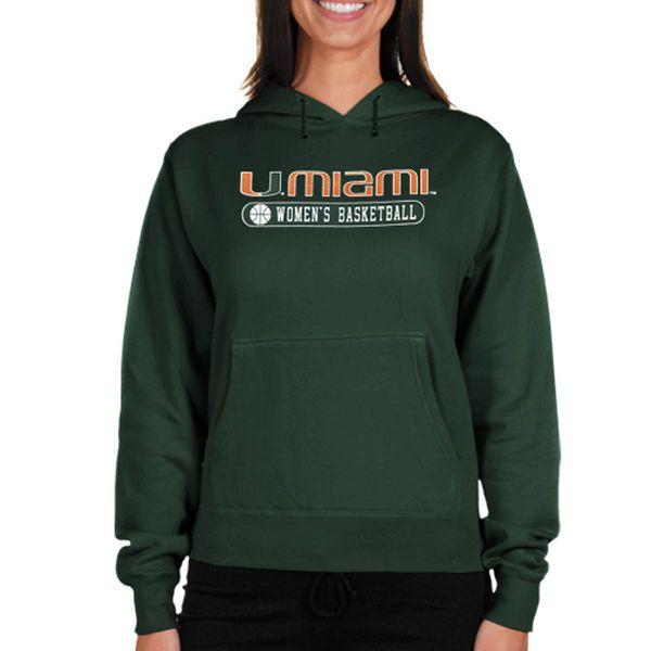 Miami Hurricanes Women's NCAA Womens Basketball Hoodie - Green - $18.99