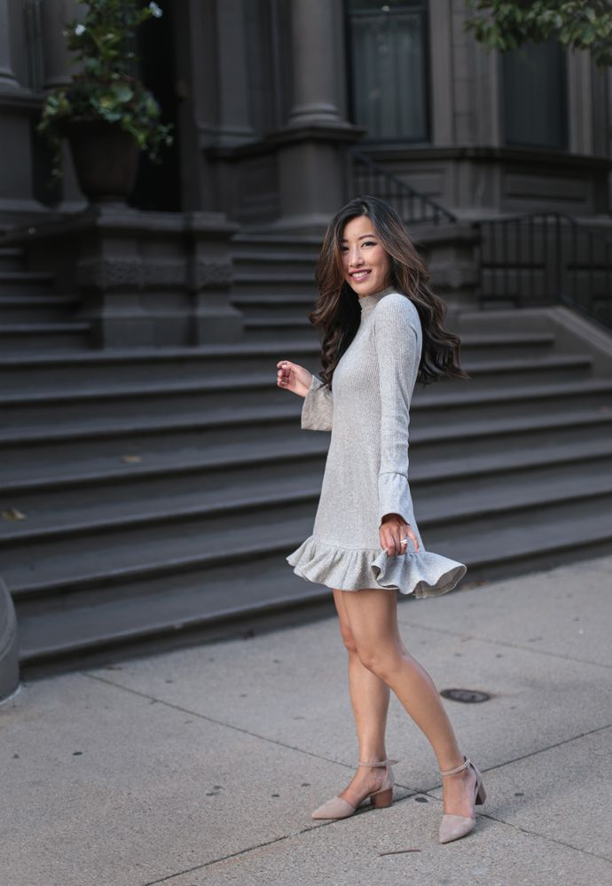 fall swing ruffled dress // where to buy clothing for petite women_asian style fashion blog