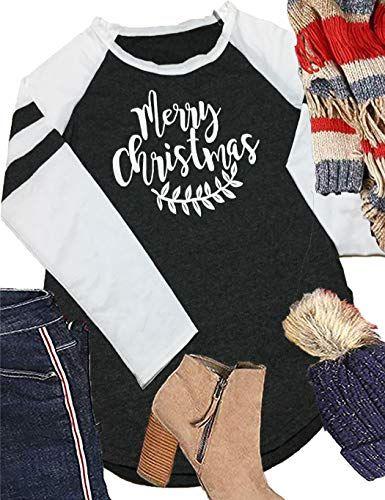 461a4a20 New Locryz Women Raglan Long Sleeve Baseball Tee Shirt Casual Crew Neck  Striped Tunic Tops Christmas