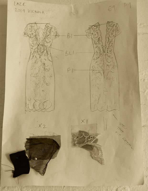 Sketch to Sample: Meet Vienna. Corded lace gives the LBD a new twist. Read more on the blog now. #CatherineDeane